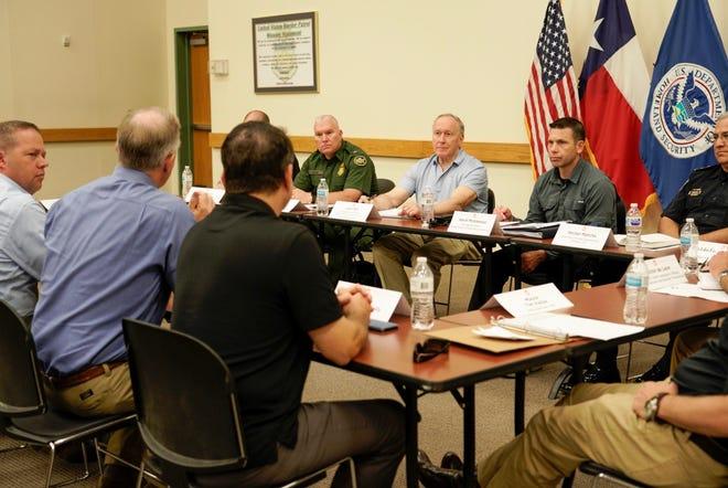Acting Homeland Security Secretary Kevin McAleenan met with several border state mayors, including Yuma Mayor Doug Nicholls and Mesa Mayor John Giles, during a visit to El Paso on July 11, 2019.