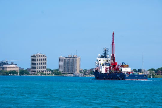 The Highland Eagle passes through Port Huron on the St. Clair River Friday, July 12, 2019, on its way to the Straits of Mackinac. The ship, which is going to assist Enbridge in pre-construction work on the Line 5 project, is a specially designed vessel brought in from Europe that will allow for the drilling of sediment and rock samples in the Straits.