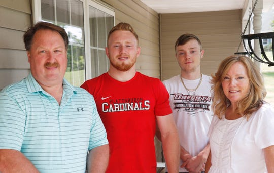 From left, Jim, Ryan, Kyle and Cindy Wilson at their home in LaGrangeville on July 12, 2019. Ryan Wilson completed a bicycle trip to Miami, Florida to raise money for ALS research in honor of his aunt.