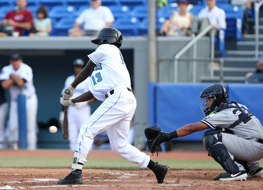 Luis Arcendo bats for the Hudson Valley Renegades in a game against the Staten Island Yankees on July 10.