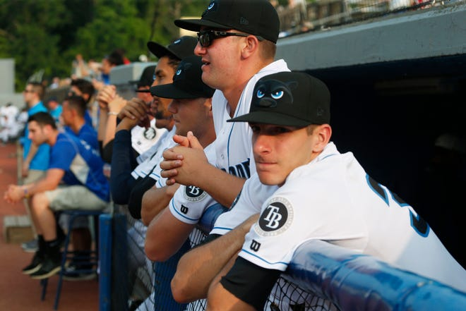 Players in the dugout before the game started on Champions Night at Dutchess Stadium in Fishkill on July 10, 2019.