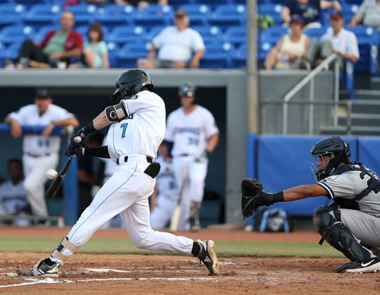 Hudson Valley Renegades Nick Sogard hits a single during Wednesday's game at Dutchess Stadium in Fishkill on July 10, 2019.