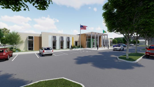 A rendering of Franklin County's new administration building, which will be constructed on the south corner of North Second and Grant streets.
