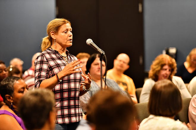 Judith Higgins, then a Democratic candidate for the York County Board of Commissioners, spoke at a Pennsylvania Human Relations Commission meeting in Hanover in 2019.