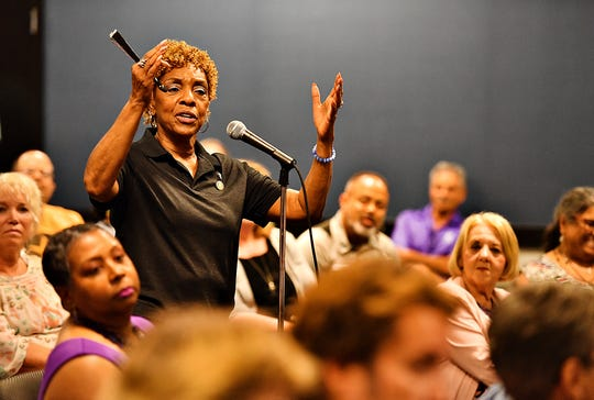 Rep. Carol Hill-Evans, D- York City, of the 95th Legislative District, speaks during the public comment portion of the fourth installment of the Pennsylvania Human Relations Commission's York Town Hall Series at Guthrie Memorial Library in Hanover, Thursday, July 11, 2019. Dawn J. Sagert photo
