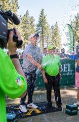 Josh Allen won the Korbel champagne spray-off on Thursday.