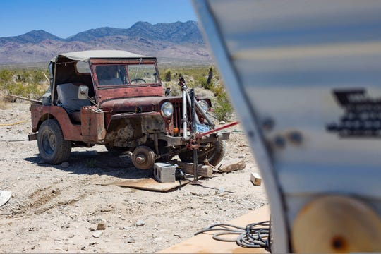 In this Wednesday, July 10, 2019 photo, is the jeep where Troy Ray was found dead under the vehicle that Nevada officials think may have collapsed on him due to earthquakes last week in rural Pahrump, Nev. Nye County Sheriff Sharon Wehrly said Thursday that investigators might never know for sure what caused Ray to become pinned beneath his Jeep outside his trailer home. (Rachel Aston/Las Vegas Review-Journal via AP)