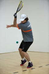 Rory Lampe, a sophomore going into his junior year at Sprague High School, practices racquetball at Courthouse Club Fitness in Salem on July 11, 2019.