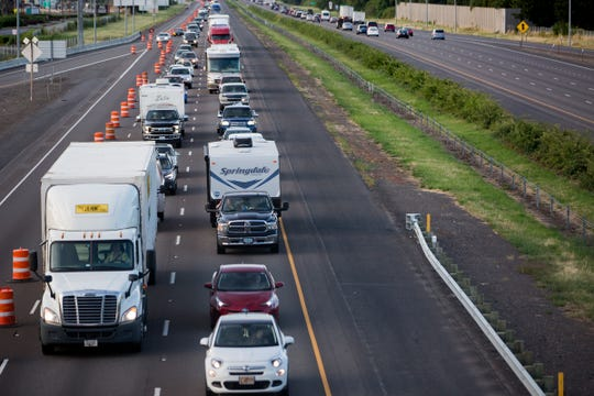 Traffic builds up on southbound I-5 in Woodburn on July 11, 2019.