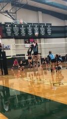 TLCA's Kait Kirkland (8) goes up for an attack during action in 2018. The junior is a top returning player in 2019 for the Lady Eagles.