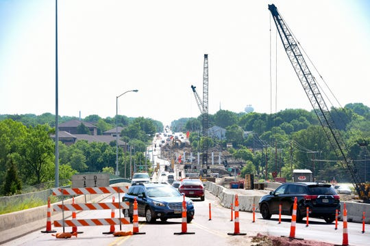 26th Street traffic remains congested while construction work continues on Interstate 229 entrance and exit ramps Friday, July 12, in Sioux Falls.