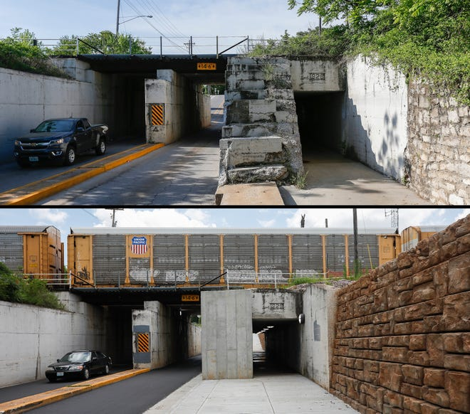 On top is a look at the Washington Avenue pedestrian tunnel just north of Commercial Street on May 16, 2018. Below is a view of the same tunnel on July 9, 2019.