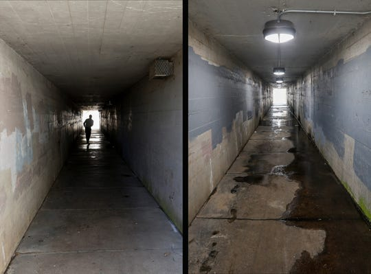 At left is a look at the Washington Avenue pedestrian tunnel just north of Commercial Street on May 16, 2018. At right is a view of the same tunnel on July 9, 2019.