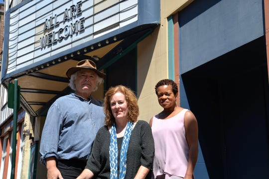 From left to right: Thomas Wagner and Pamela Wagner of the Arcadia Project and Abena Foreman-Trice, media liaison for the Arcadia Project and board secretary. The Wagners have establish the project to revive the old Dixie Theatre and Arcadia building into an all-inclusive community cultural center.