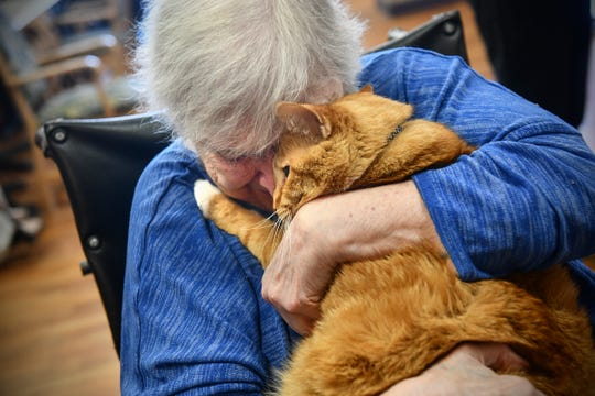 Lois Thedens says goodbye to Parker, a resident of the second floor of St. Benedict's Senior Community for nearly 20 years, during a retirement party she planned for him Friday, July 12, 2019, in St. Cloud. Parker will be leaving the facility to spend his twilight years with an employee and her family.