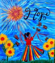 Hope painting by Sylvia Coates.