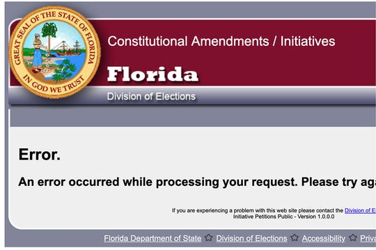 Screen shot of email displays technical error message encountered when trying to register to collect signatures for ballot initiatives in Florida.
