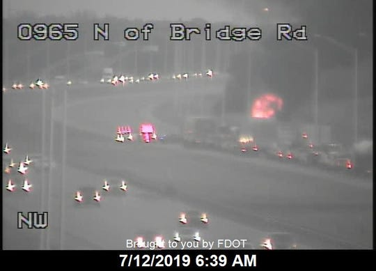Northbound I-95 blocked due to vehicle fire.