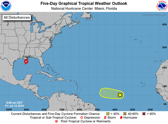 Tropical wave and Tropical Storm Barry 8 a.m. July 12, 2019