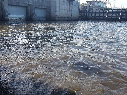 """""""Low density"""" blue-green algae was reported July 10, 2019, on the Lake Okeechobee side of the Port Mayaca Lock and Dam by a crew from the South Florida Water Management District."""