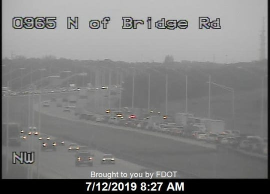 The fire was reported on I-95 north of the Bridge Road exit at 6:40 a.m.