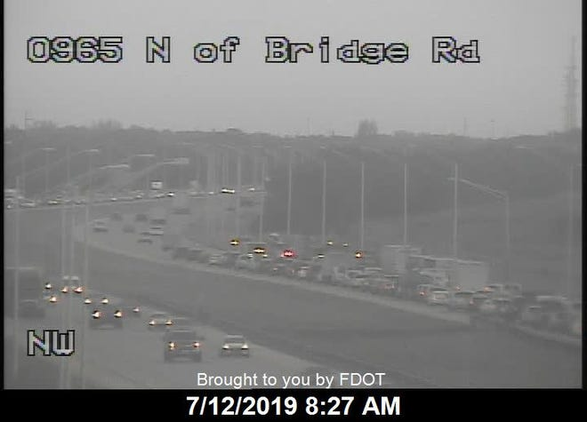 The fire wasreported on I-95 north of the Bridge Road exit at 6:40 a.m.