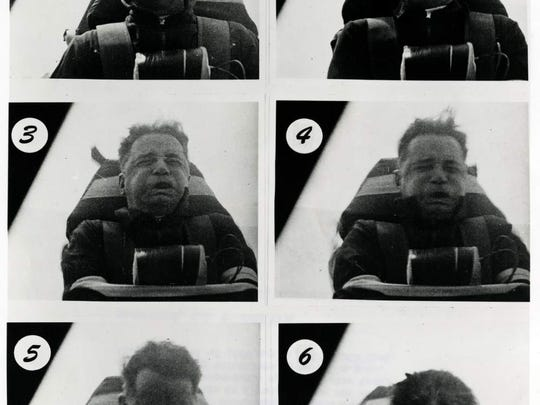 Composite showing Col. Stapp during rocket sled test at Holloman AFB, NM. Test to study effects of bailout at high altitude and supersonic speeds. Photos 1-3 taken during acceleration phase: force = 12 G; 4-6 during deceleration: force = 22 G. Dated June 1954.