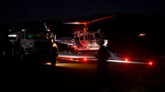 Helicopter crews from Ventura, Los Angeles and Kern counties conduct training to fight fires in the dark of night.