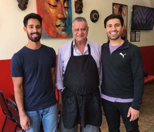 Raman Singh, left, runs the newly opened Indian Rasoi in Ventura with his father, Piara Singh, center, and brother, Sarbjot Singh. The restaurant's menu featuring naan, samosas, veggie korma and more brings culinary variety to residents of Ventura's Taco District neighborhood, says Raman Singh.