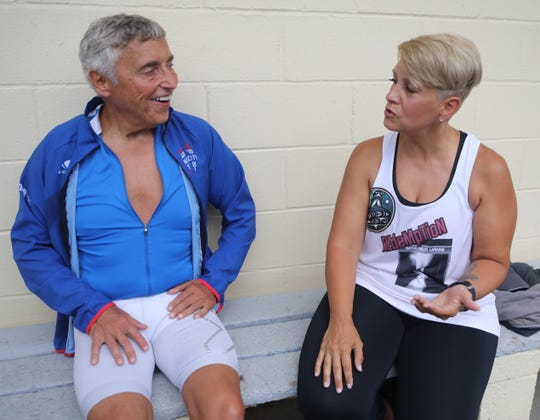Port Chester's Don Cassone, who dropped 150 lbs, and Yonkers' Laraine Batis-Gelpi, post- reconstructive ankle surgery, talk about  compete in the NYC Triathlon in White Plains July 11, 2019.