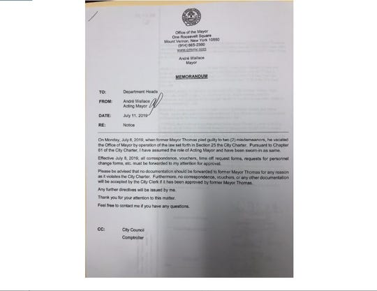 "Memo from Mount Vernon Acting Mayor Andre Wallace advising that ""no documentation should be forwarded to former Mayor Thomas."""