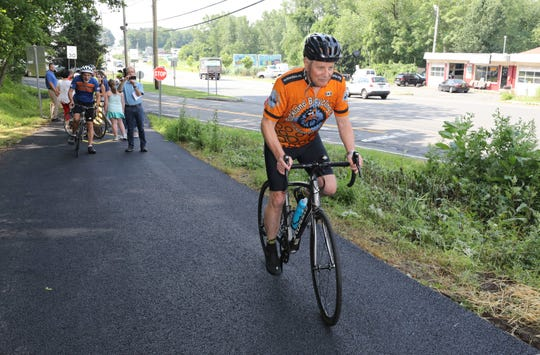 Mike Hays, president of the Rockland Bicycling Club rides on the new Greenbush Road bypass bike path in Blauvelt, July 12, 2019..