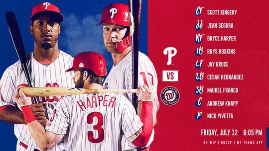 Phillies' lineup for Friday's game vs. Washington.