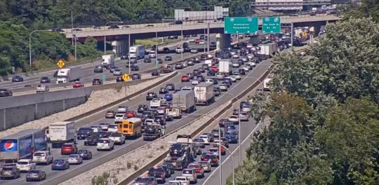 A view of traffic on I-95 north near the Churchmans Crossing/Del. 1 ramp around 3:30 p.m. on Friday.