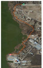A graphic from the city of Wichita Falls shows the proposed path of Circle Trail in a section from the Lake Wichita marina to Barnett Road. The project is expected to be about $2.6 million that could be partially funded through TxDOT TAP grants.