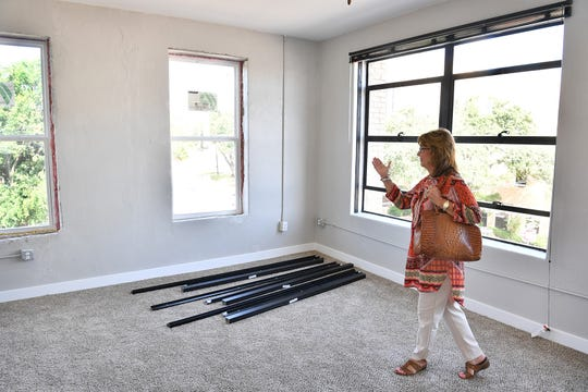 Carol Whitehead of The Landmark on Lamar apartments talks about the finishing touches still waiting to be done on this corner apartment.