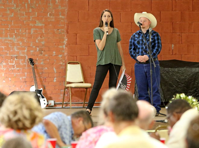 Addison Roberts, executive director of the ARC, speaks to the crowd at the start of a fundraiser Thursday, July 11, 2019, People First program at the ARC at the Stone Palace.