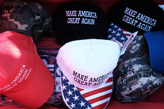 MAGA hats shown at a rally on November 4, 2016 in Hershey, Pennsylvania.