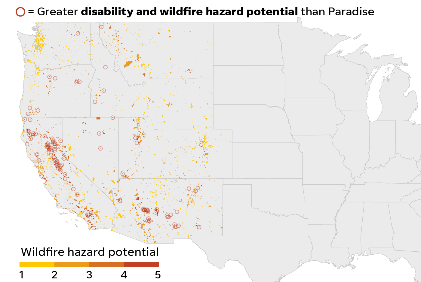 Places with disability and wildfire hazard scores greater than Paradise, Calif.