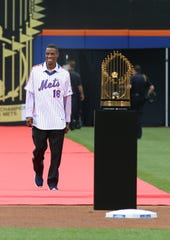 Dwight Gooden is introduced to the crowd during a pregame ceremony honoring the 1986 World Series Championship team.