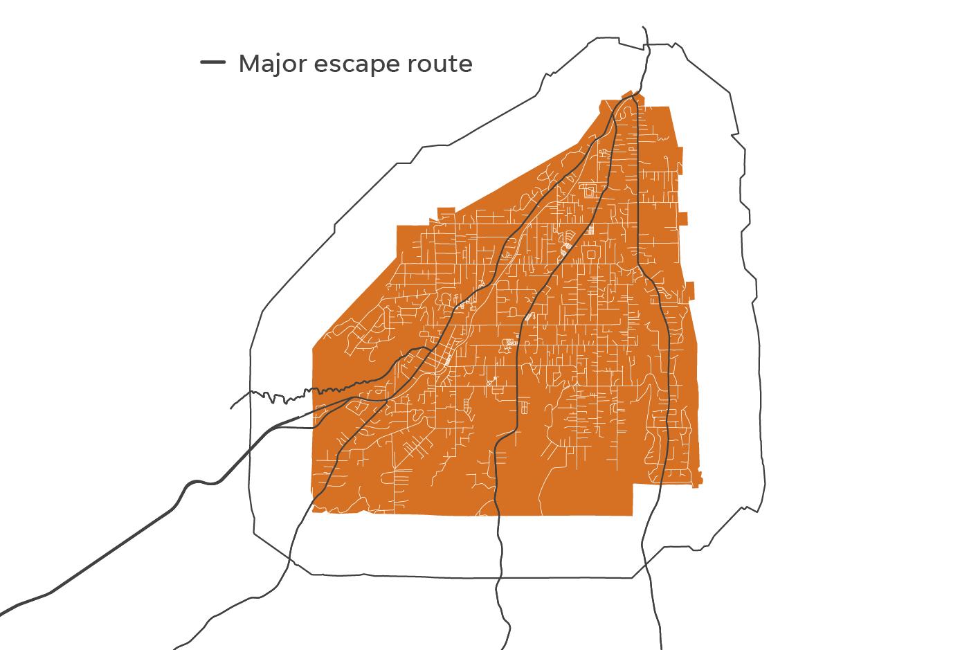 Major escape routes for Paradise, Calif.