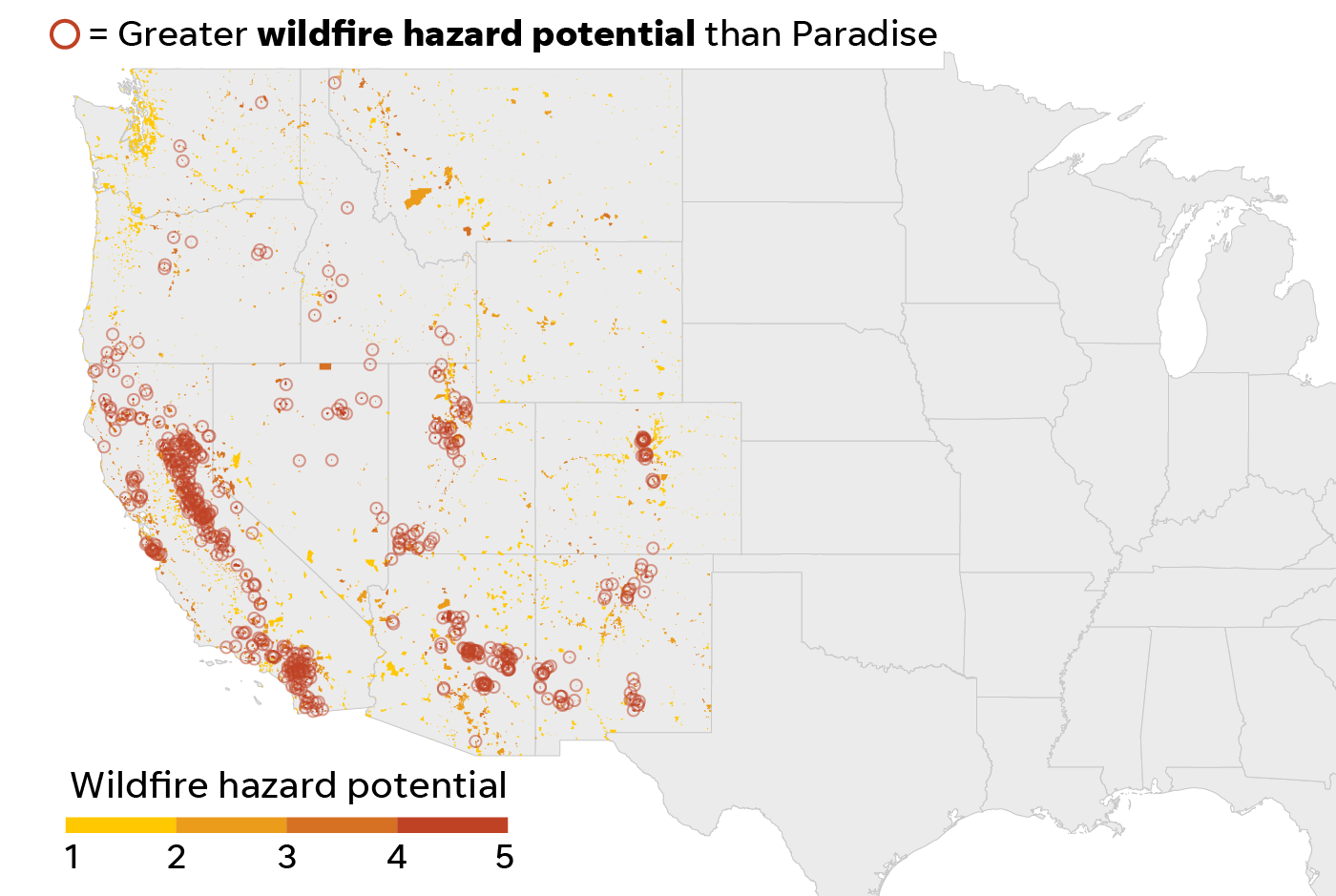 Places with a wildfire hazard score greater than Paradise, Calif.