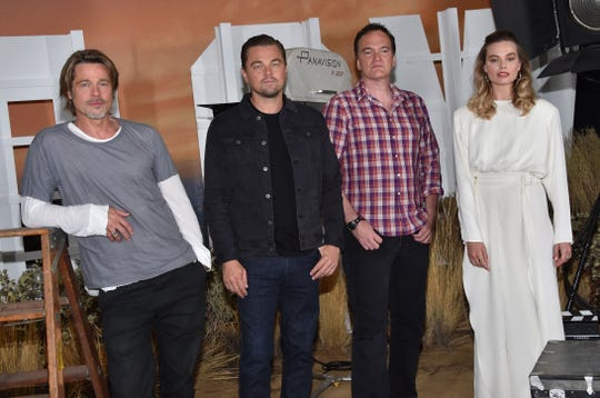 "Brad Pitt, Leonardo DiCaprio, Quentin Tarantino and Margot Robbie attend the photo call for Sony Pictures' ""Once Upon a Time in Hollywood"" at the Four Seasons hotel on July 11, 2019 in Los Angeles."