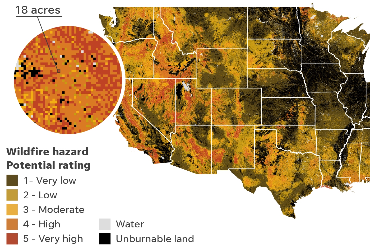 U.S. Forest service data shows wildfire hazard across the country.