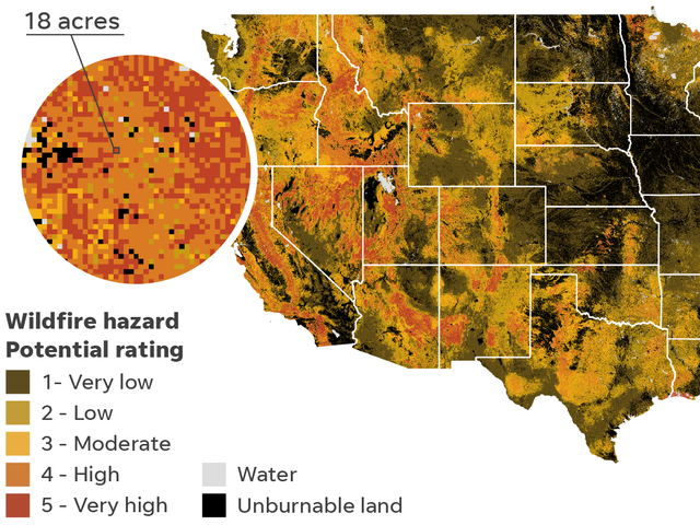 Wildfire risks: More than 500 spots have greater hazard than