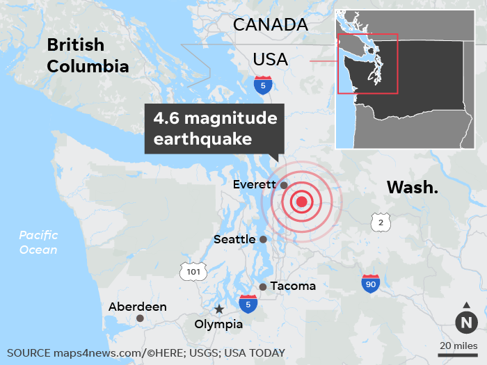Earthquake 4 6 in Washington rattles Seattle area awake