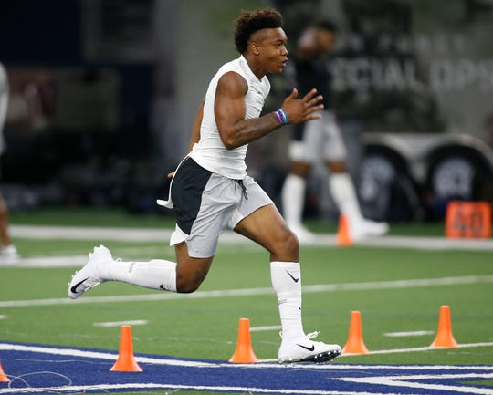 Running back Kendall Milton participates in drills at The Opening in Frisco, Texas.