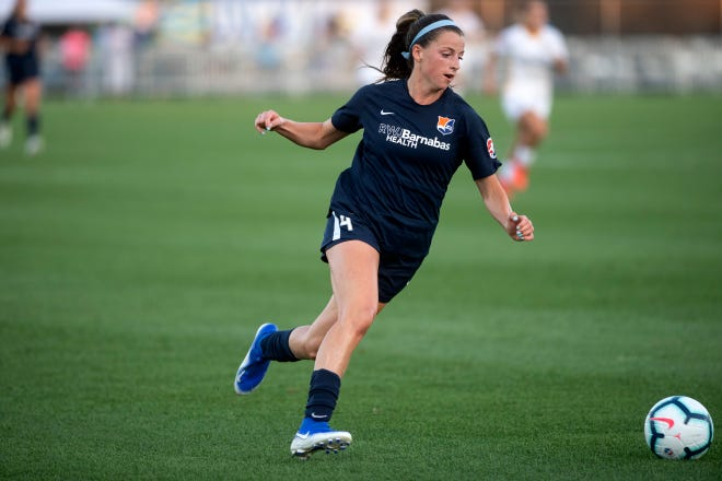 Women's professional soccer game between Sky Blue FC and Utah Royals FC at Yurcak Field in Piscataway on Friday, July 12, 2019. Sky Blue FC #4 Paige Monaghan.