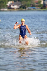 Shelly (Russell) Schafer, 52, was the top female finisher at the 92nd annual Goguac Lake Swim on Saturday, July 13, 2019.