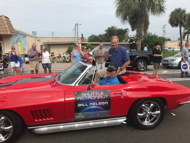 Bill Nelson at Cocoa Beach Astronaut Parade in 2019 as part of the 50th anniversary of the Apollo 11 moon landing.